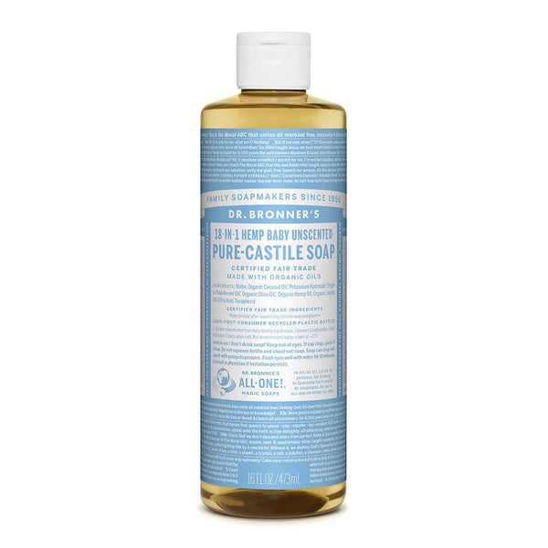 Dr Bronners Pure Castile Soap Liquid Baby Unscented 437ml