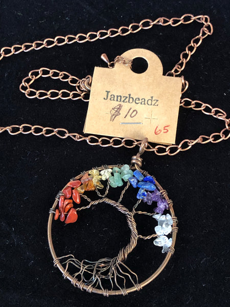 Janzbeadz - Stone tree pendant on chain