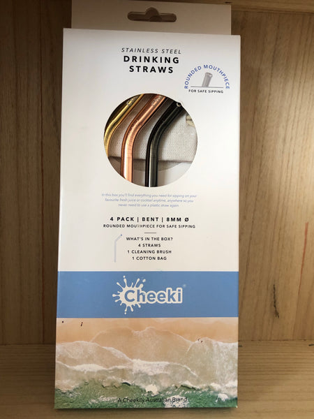 CHEEKI Stainless Steel Straws (4 pack) - Bent All Colours + Cleaning Brush