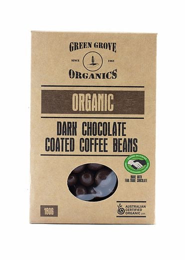 Dark Chocolate Coated Coffee Beans 180g by Green Grove Organics