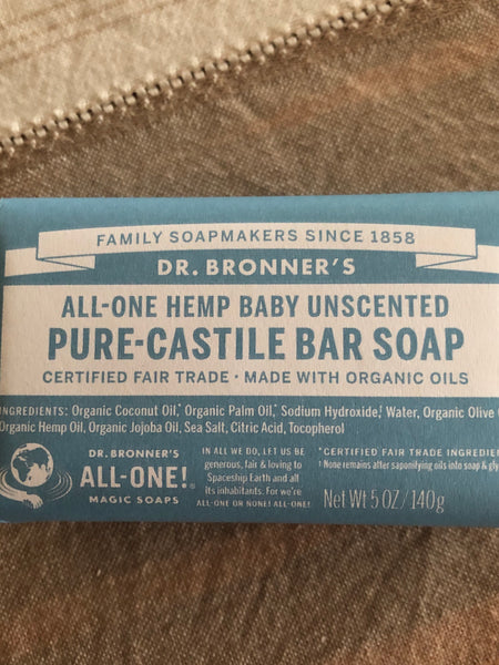 Dr Bronner's (Baby Unscented) Pure Castile Bar Soap