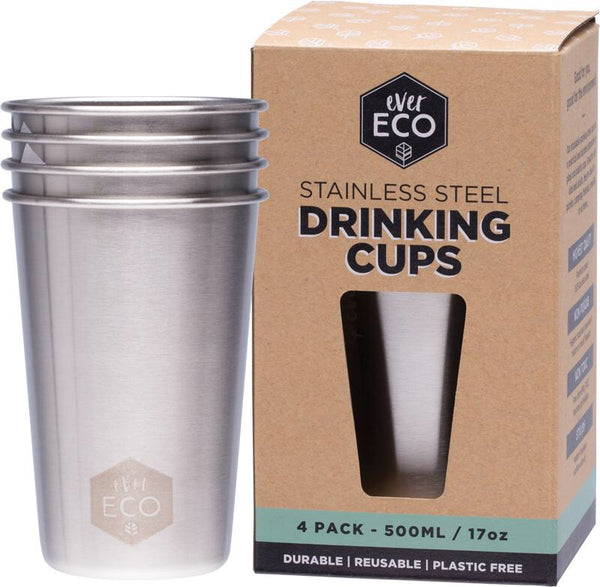 Ever Eco Stainless Steel Drinking Cups (4 x 500ml)
