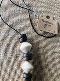 Janzbeadz- natural cream and brown wooden bead necklace