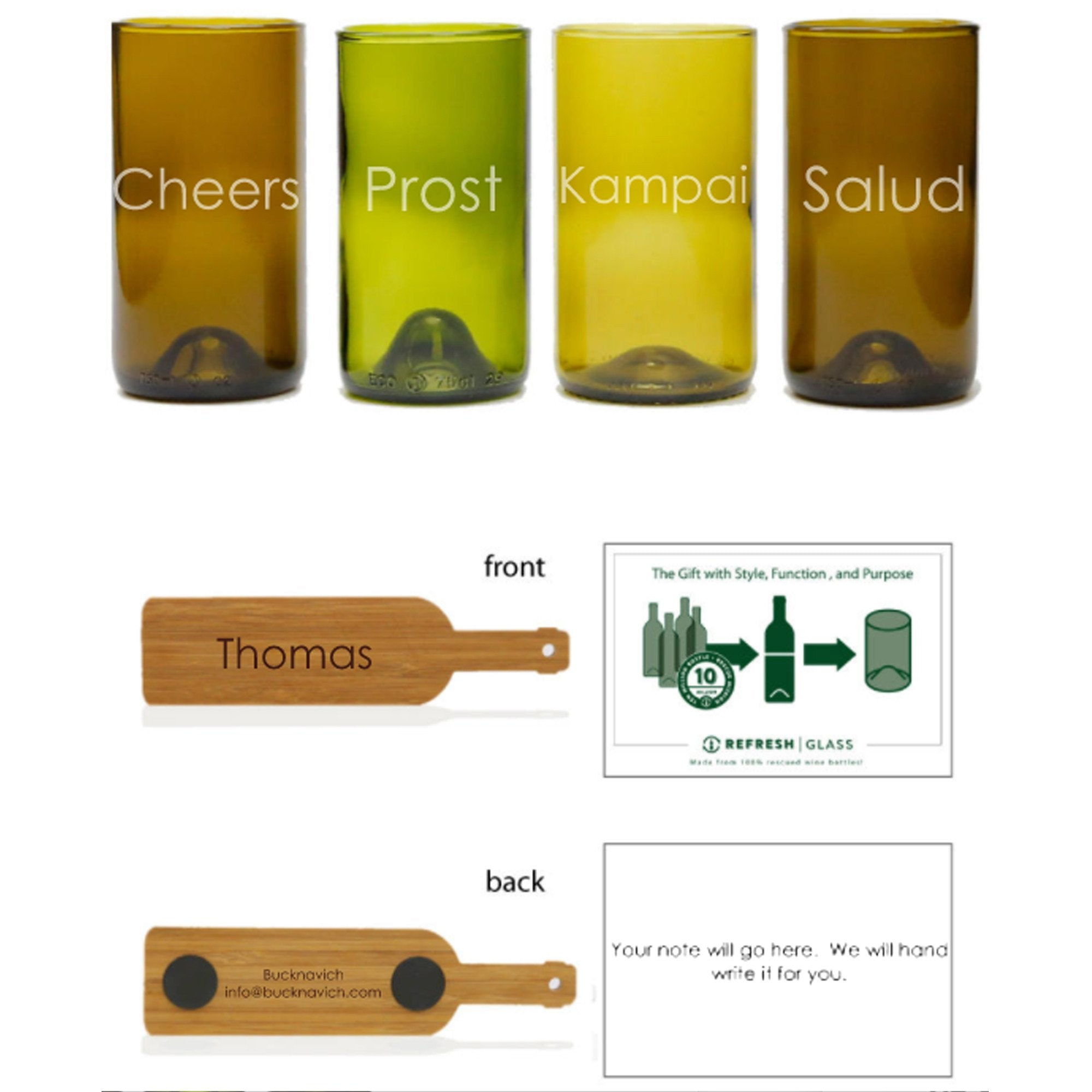 4-16oz Glass Gift Set - Mixed Color - Cheers