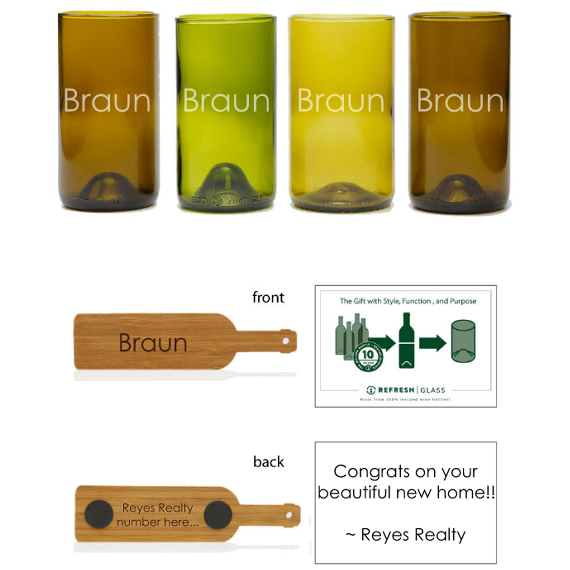 4-16oz Glass Gift Set - Mixed Color - Name