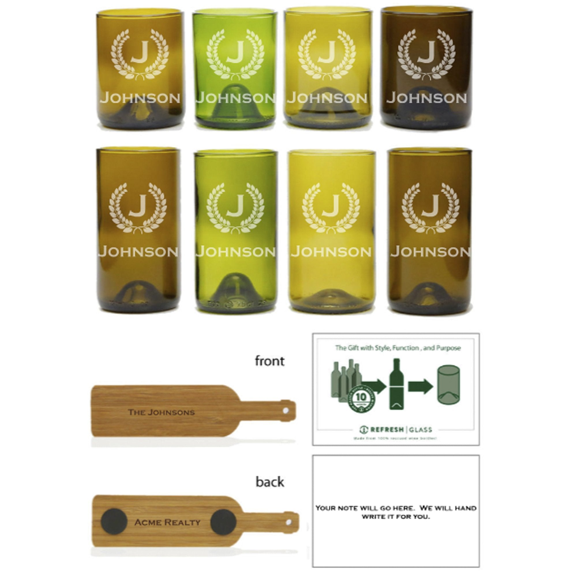 8-Glass Gift Set : 1-12oz 4 Pack Mixed Color & 1- 16oz Mixed Color Gift Set - Monogram & Crest