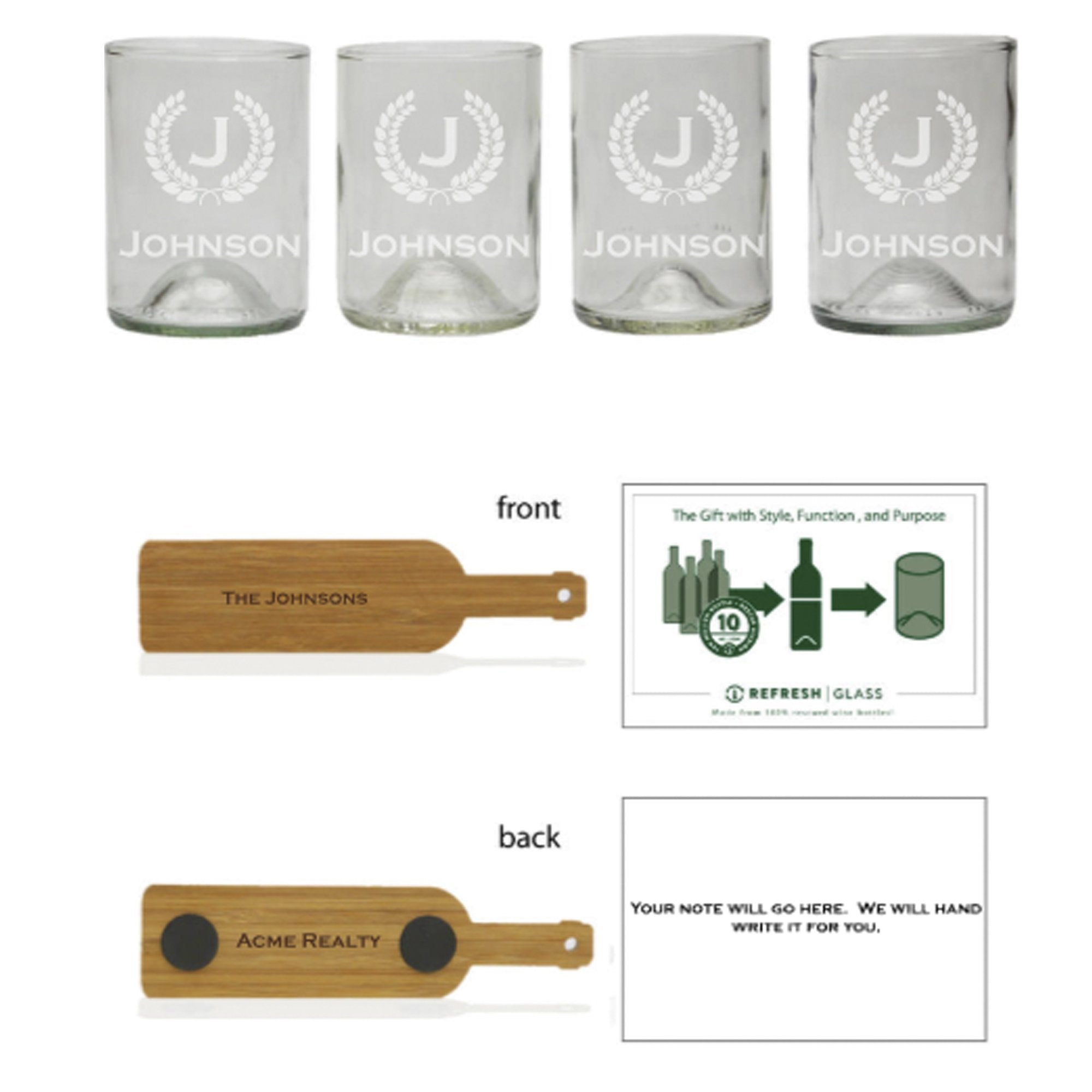 Bourbon 4 Pack Gift Set - Monogram & Crest