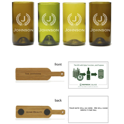 4-Tall Glass Gift Set - Monogram & Crest-Refresh Glass
