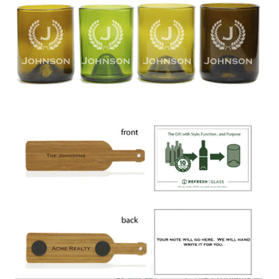 4-Glass Gift Set - Monogram & Crest-Refresh Glass