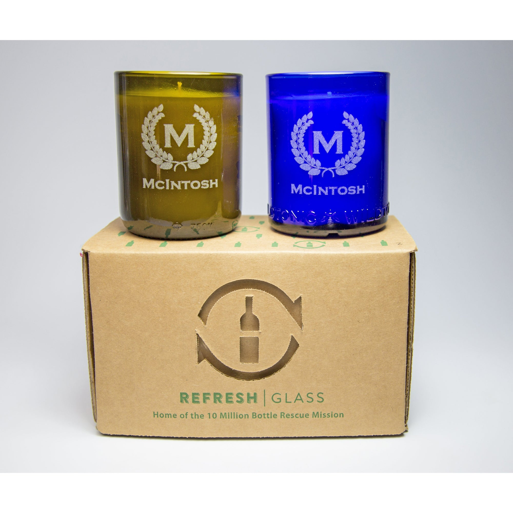 2-Pack Candle Set - Monogram & Crest-Refresh Glass