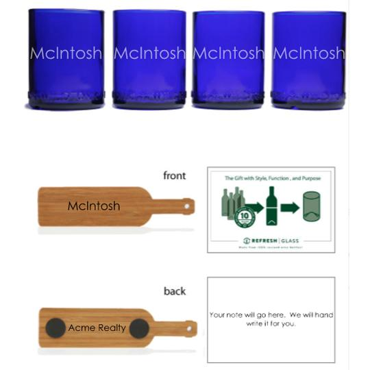 4-Glass Gift Set - Cobalt - Name
