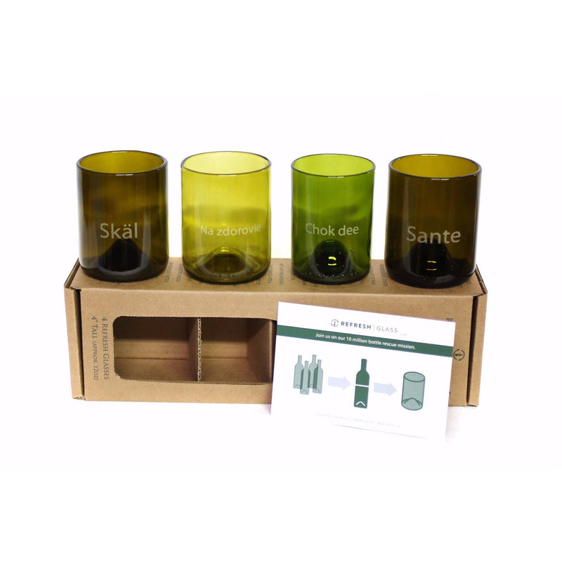 4-12oz Glass Gift Set -Mixed Color - Cheers