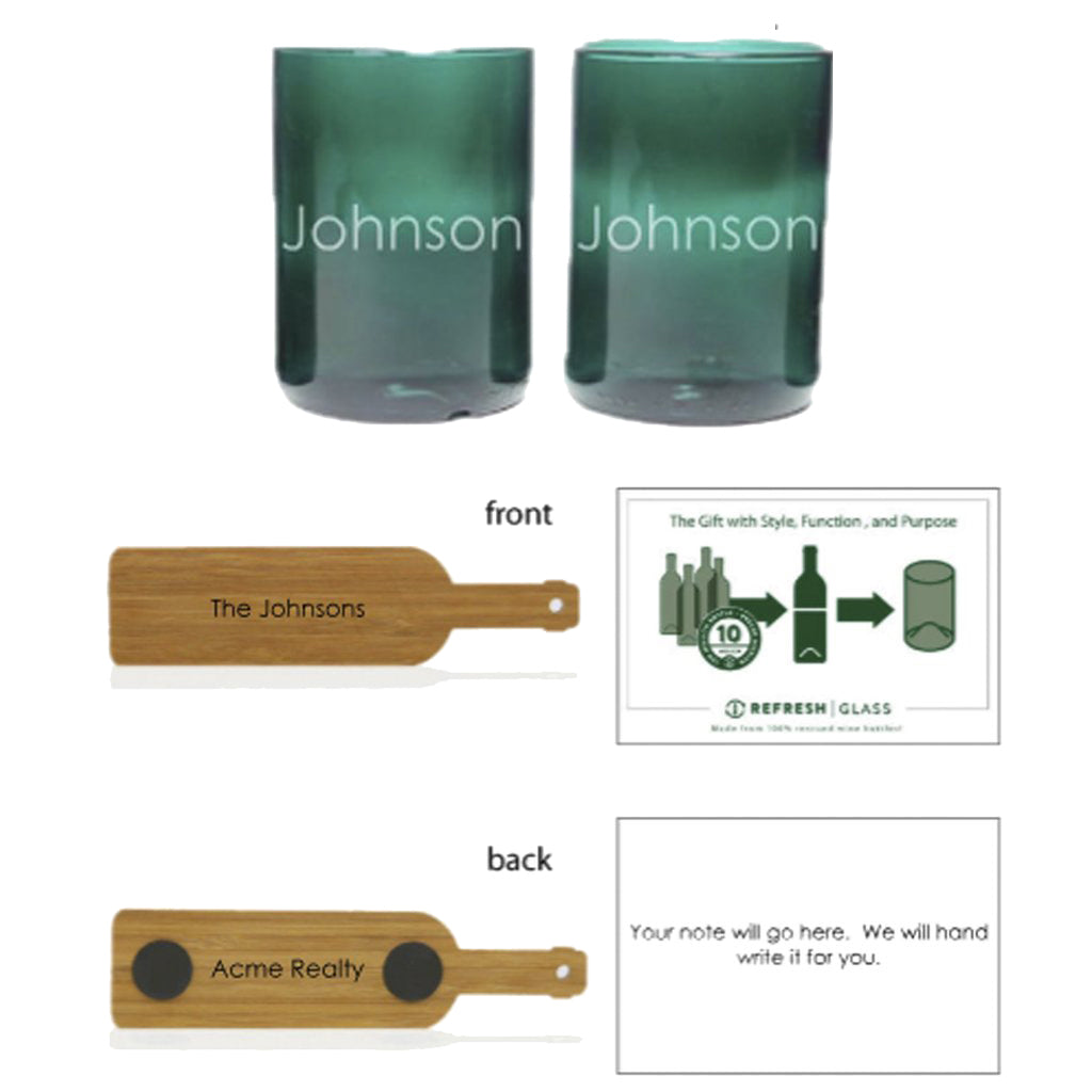 2-Glass Gift Set - Teal - Name-Refresh Glass