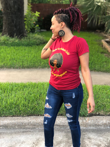 Dipped in Melanin Gold Woman's T-Shirt - Cardinal Red