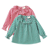 0-2T Baby Girl Clothes Shirt Red Green Black 3-Color Plaid Shirt Spring