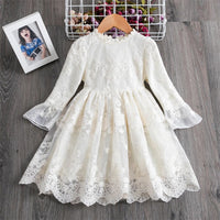 Girls Clothing Beige Wedding Dress Flower Embroidery Design Kids Dresses For Girls