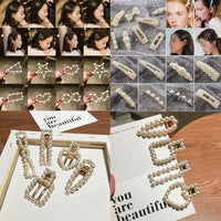 1 PC Womens Girls Pearl Hair Clip Gold Hairpin Slide Grips Barrette Stick