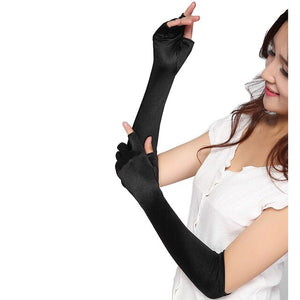 Sexy Women Elbow Length Satin Fingerless Gloves Black Gothic Punk Opera stage