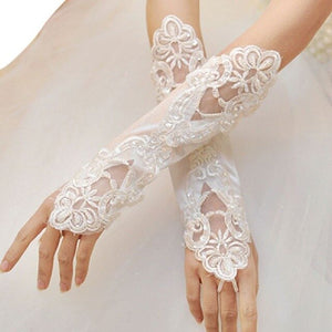 1 Pair Women Bridal Long Gloves Opera Fingerless Embroidery Lace Glitter
