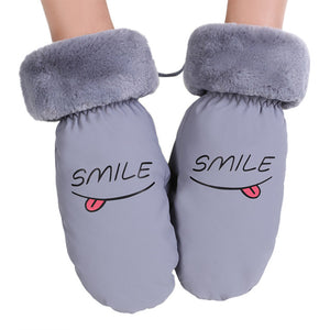 1 Pair Women Lady Warm Winter Gloves Letters Printed Stretch Warm Fingerless