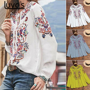 Women's Blouse Floral Print Shirt Long Sleeve Tops Casual Embroidered Blouse