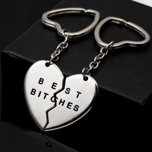 1 Prir  Heart Pendant Pieces Broken Two Best Bitches Friendship Forever Women Keychain Jewelry Llavero Gold Silver