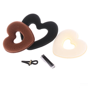 1 Set New DIY Donut Bun Heart Maker Magic Foam Sponge Hair Styling Tool Princess Hairstyle Hair Bands Hairpin Hair Accessories