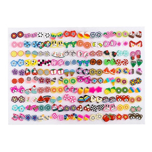 100 Pairs/Set Random Plant Fruit Animal Stud Earrings For Women Girls Kids Jewelry Cute Bear Polymer Clay Earring Set Mix Gifts
