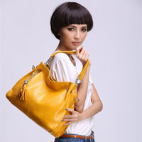 genuine leather Women Hobo Bag Luxury Fashion Women Handbag yellow Big Capacity Casual
