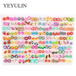 100Pair/lot Multi-style Colorful Fruit Flower Geometric Crystal Stud Earrings Set For Women Girls Alloy Earrings Jewelry Gifts