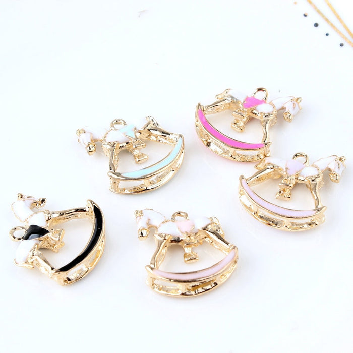10PCS/Lot Oil Charms Beautiful Horse Gold Color Metal Enamel Folating Pendant Carousel Charms