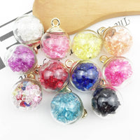 10Pcs Christmas Crystal Glass Ball Charms Jewelry Earrings Necklace Making Pendant AIC88
