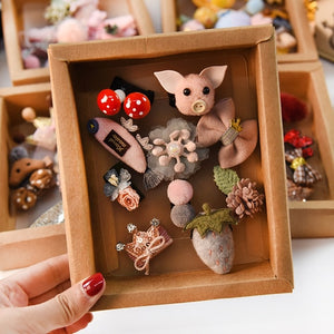 10pcs Headwear Gift Box  Children Accessories Ribbon Bow Hair clip Hairpins