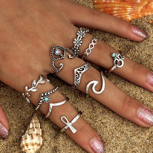 10pcs/Set Women Bohemian Vintage Silver Stack Rings Above Knuckle Blue Rings Set Cocktail RING