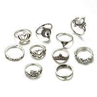 10pcs/Set Women Bohemian Vintage Silver Stack Rings Above Knuckle Rings Cocktail RING
