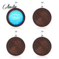 10pcs/lot Brown Wood Cabochon Base Fit Blank Wooden Stainless Steel Charm Pendant Trays