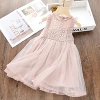 Casual Kids Clothes Lace Long Sleeves Dress Children's Vestidos For 3-8T