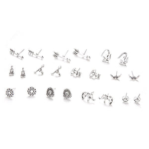 11 Pairs/Set Women Fashion Elephant Moon Heart Love Buddha Tauren Arrow Stud Earrings for Women Silver Boho Wedding Jewelry