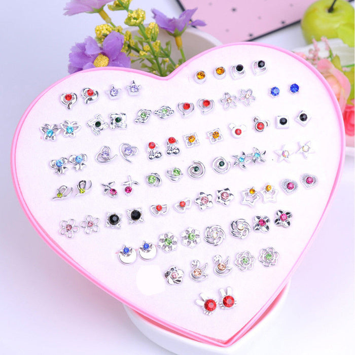 12-36 Pair/Set Fashion Women Lady Round Star Rhinestone Crystal Flower Ear Stud Earring Jewelry