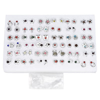 12~36 Pairs Fashion Women Girls Resin plastic Crystal Diamante Flower Stud Earrings Set random style gold silver Jewelry