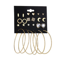 12 Pairs/set 2018 Trendy Female Rhinestone Crystal Stud Earrings For Women Gold Circle Earring Set Mix Punk Style Girls Jewelry