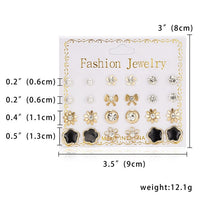 12 Pairs/set Classic  Crystal Stud Earring Sets Women's Round Ball Metal Pearl Flower Earrings For Women Girl Gift Mixed Jewelry