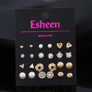 12 pairs / sets of ladies triangle earrings crystal heart-shaped earrings female perforated simulation pearl flower earrings