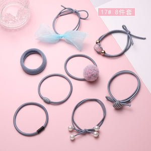 12Pcs/Set High Elastic Hair Bands Solid Pearl Stretch Hair Ties
