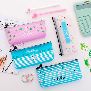12pc/lot New Cute Flamingo PU storage bag / women student creative large stationery bag/pencil pen cosmetic bag