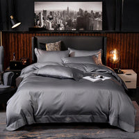 New Egyptian Cotton Embroidery  Bedding set Pure Colors Duvet Cover Bed Sheet High-End 2020