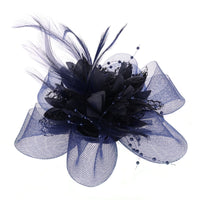 14 Colors Womens Flower Feather Beads Mesh Corsage Hair Clips Fascinator Bridal Hairband 17.5x17.5cm Hair Accessories