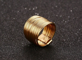 15mm Width Feminine Women Ring Gold Color Interlocked Stacking Big Round Hyperbole Jewelry
