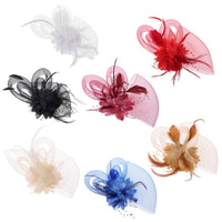 15x26CM Feather Beads Mesh Veil Women Fascinator Pillbox Hat Blooming Flower Vintage Tea Party Half Face Cover Banquet Hair Clip