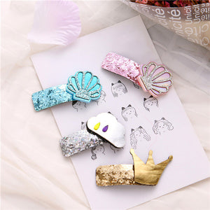 Clip Glitter Crown Kids Barrette Cute Cloud Hair Clip Grips Ponytail Hairpins